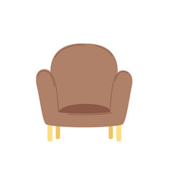 Soft chair or brown armchair furniture vector