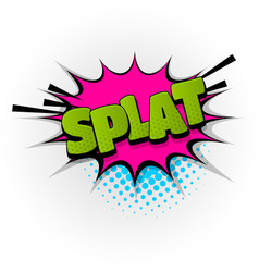 Splat splash comic book text pop art vector