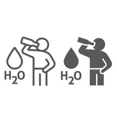 Stay hydrated line and glyph icon healthy and h2o vector