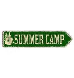 summer camp vintage rusty metal sign vector image
