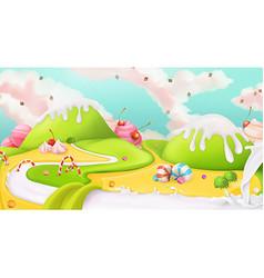 Sweet landscape background vector image