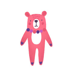 teddy bear flat cute pink vector image