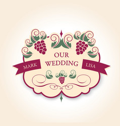Template wedding badge in vintage style Ideal for vector