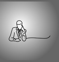thinking businessman doodle sketch vector image