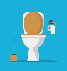 toilet bowl lavatory paper and brush vector image