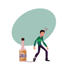 Unshaven man with hand chained to liquor bottle vector