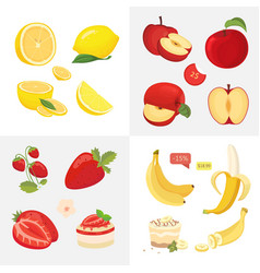 vegetarian food icons in cartoon style fresh vector image
