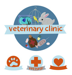 veterinary clinic logo with image canary vector image