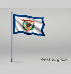 Waving flag west virginia - state united vector