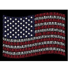 Waving usa flag stylized composition of death vector