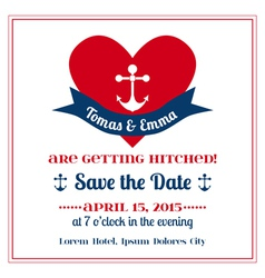 Wedding Vintage Invitation Card Anchor with Heart vector image vector image