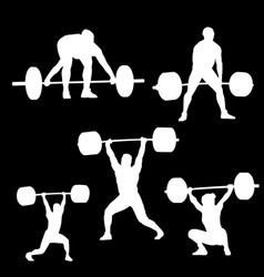 Weightlifting a white silhouette of a man that vector