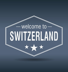Welcome to Switzerland hexagonal white vintage vector