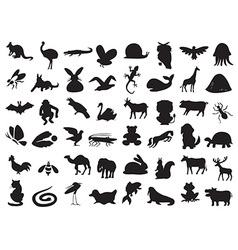 Wild and domestic animals silhouette vector