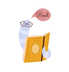 with funny bookworm and open book vector image