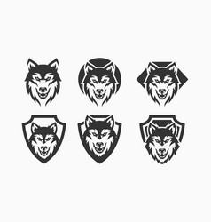 wolf set abstract template logo design vector image