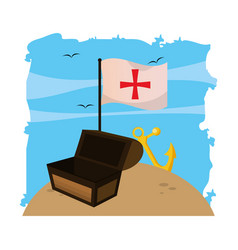 Wooden chest box with flag cross and anchor vector