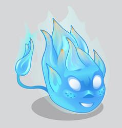 blue fiery demon in cartoon style vector image