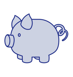 blue silhouette of piggy bank vector image