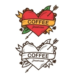 Coffee forever love hand drawn poster vector image vector image