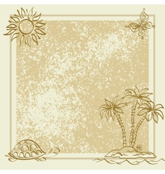Exotic background Palm butterfly turtle vector image