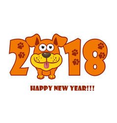 happy new year the year 2018 is a yellow earth vector image vector image