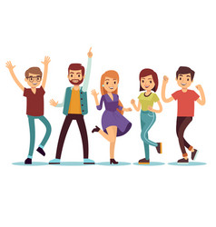 happy smilling dancing young persons at christmas vector image