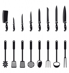 kitchen knives and utensils vector image vector image