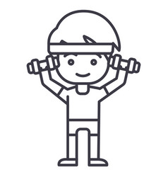 man workout with weights hands up line vector image vector image