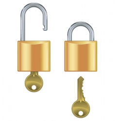 open and closed padlock set vector image
