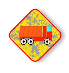 road sign dump truck vector image