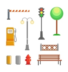 street element icons set Bench hydrant vector image vector image