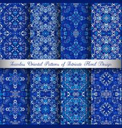 blue arabesque patterns vector image