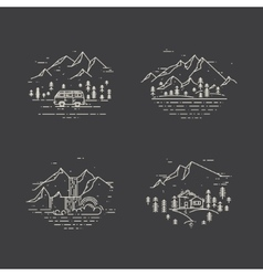 Flat line with wild landscapes vector image vector image