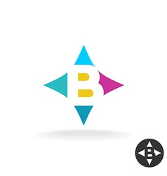 Letter B logo colorful style in a pillow shape vector image vector image