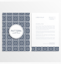 stylish letterhead design with square patterns vector image
