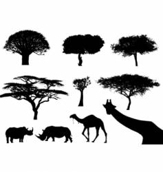 trees and animals vector image vector image