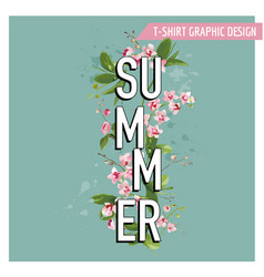 tropical palm leaves and orchid flowers summer vector image vector image