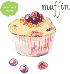 watercolor muffin - vector image