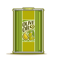 Green metal bottle with olive oil vector