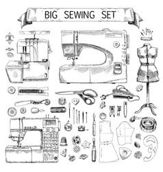 hand drawn sketch big sewing set vector image vector image