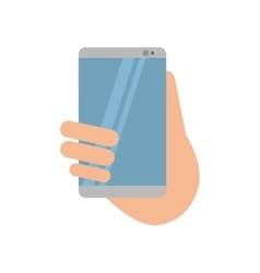 hand holds smartphone sms chat technology vector image