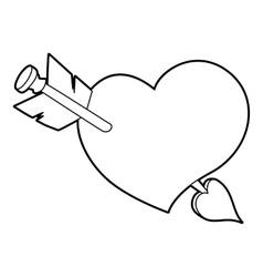 Heart with arrow icon outline style vector image