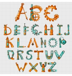 Mechanic Alphabet Colored vector image