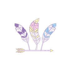 nice arrow with feather design decoration vector image