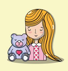 Woman lover with teddy bear vector
