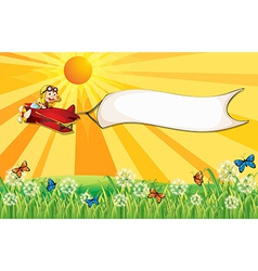 A monkey on a plane with a white banner vector image vector image