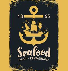 banner for seafood with anchor and sailboat vector image vector image