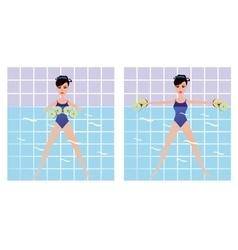 Beautiful girl doing aqua aerobics girl vector