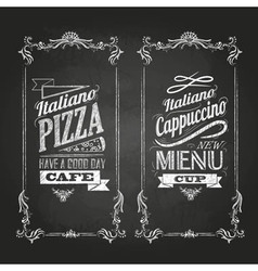 chalk drawings Menu Retro typography vector image